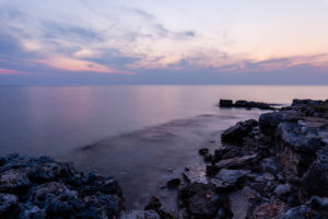 Coast, dawn, sea, rocks, evening