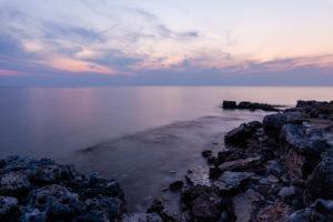 Küste, Dämmerung, Meer, Felsen, Abend