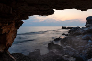 Grotto, cave, view, dusk, sea, coast