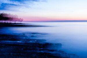 Küste, Strand, Abenddämmerung, Unschärfe, Nebel, Wasser