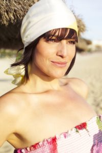 Woman, young, summer dress, headkerchief, beach, smiling, portrait,