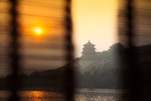 China, Beijing, curtains, view Summer Palace, 'Yiheyuan', Kunming Lake, Dusk,