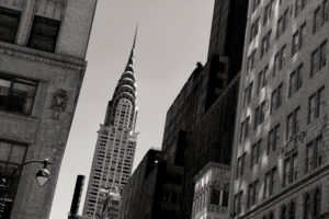 View of the Chrysler Building, Met Life Building and Uptown, Manhattan, New York, USA