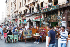 Cairo, Giza, Egypt, al-Muizz Street, Al-Muizz Al-Deen Allah Street, Old Cairo,  Al Moez Ldin Allah Al Fatmi, tourists, cafe