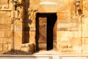 Cairo, Giza, Egypt, al-Muizz Street, Al-Muizz Al-Deen Allah Street, Old Cairo, Al Moez Ldin Allah Al Fatmi, Muizz Street,  building, outside, facade, open door