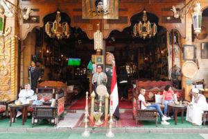 Cairo, Giza, Egypt, al-Muizz Street, Al-Muizz Al-Deen Allah Street, Old Cairo, Al Moez Ldin Allah Al Fatmi, Muizz Street,  Cafe, outside, guests