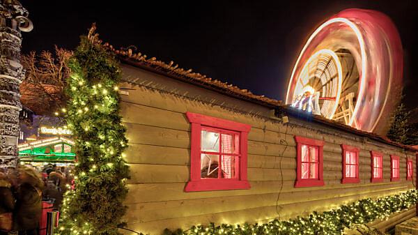 Christmas Market, blue hour, night, Braunschweig, Lower Saxony, Germany, Europe, Germany