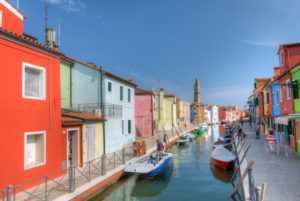 View to the leaning Tower of San Martino church in the Piazza Galuppi in Burano, Venice, Veneto, Italy, Europe