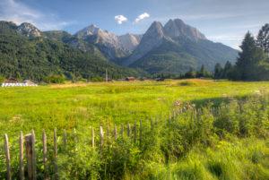View from the camping Resort Zugspitze, mountains, Alpspitze, Wetterstein, Waxensteine, Grainau, Upper Bavaria, Bavaria, Germany, Europe