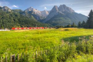 Blick vom Camping Resort Zugspitze, Alpspitze, Wetterstein, Waxensteine, Grainau, Oberbayern, Bayern, Deutschland, Europa