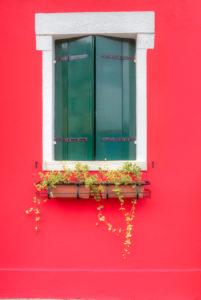 Window, colorful painted houses, Burano, Venice, Veneto, Italy, Europe