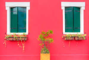 Window, colorful painted houses, Burano, Venice, Veneto, Italy, Europe