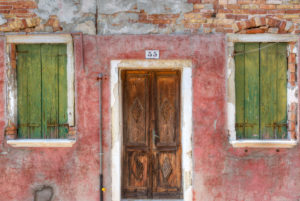 Front door, colorful painted houses, Burano, Venice, Veneto, Italy, Europe