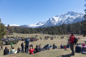 Georgi ride, riders, carriages, parade, Mittenwald, Bavaria, Upper Bavaria, Germany,