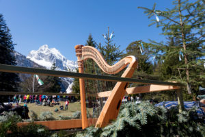 Georgi ride, fair, harp, mountains, at Lautersee, Mittenwald, Bavaria, Upper Bavaria, Germany,