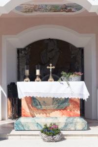 Georgiritt, Reiter, Messe, Kapelle, 'Maria Königin' am Lautersee, Mittenwald, Bayern, Oberbayern, Deutschland,