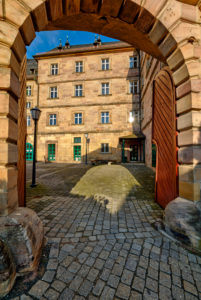 Langheimer Amtshof, Eingang, Hausfassade, Kulmbach, Oberfranken, Bayern, Deutschland, Europa,