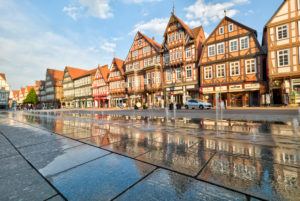 Market Square, Water fountains, House view, Facade, half-timber, Old Town, Celle, Lower Saxony, Germany, Europe