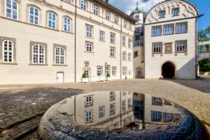Guelph's castle, castle courtyard, Weserrenaissance, historically, Gifhorn, Lower Saxony, Lüneburger Heide, Germany, Europe