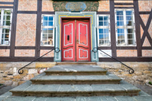 Front door, house view, facade, old town, Goslar, Harz, Lower Saxony, World Heritage Site, Germany, Europe,