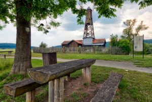 Luitpoldsprudel, bore well, derrick, Großenbrach, Franconia, Bavaria, Germany, Europe