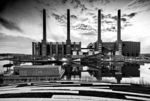 Autostadt, power station, chimneys, blue hour, architecture, Wolfsburg, Lower Saxony, Germany, Europe