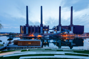 VW factory, car city, architecture, chimneys, blue hour, Wolfsburg, Lower Saxony, Germany, Europe