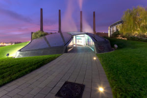 car city, VW plant, architecture, park, hotel, Ritz-Carlton, blue hour, Wolfsburg, Lower Saxony, Germany, Europe
