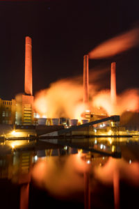VW plant, Mittelland canal, car city, blue hour, Wolfsburg, Lower Saxony, Germany, Europe