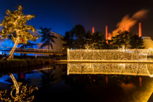 car city, Zeithaus, chimneys, Christmas market, architecture, park, blue hour, Wolfsburg, Lower Saxony, Germany, Europe