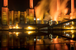 VW plant, car city, VW factory, golden hour, power plant, chimneys, Wolfsburg, Lower Saxony, Germany, Europe