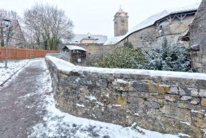 Spitalbastei in  Rothenburg ob der Tauber, Winter, Schnee, Franken, Bayern, Deutschland, Europa