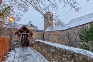 Spitalbastei in  Rothenburg ob der Tauber, Winter, Schnee, Abend, Franken, Bayern, Deutschland, Europa