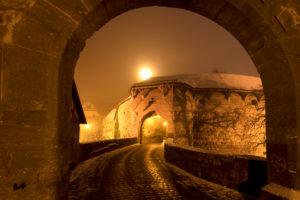 Spitalbastei, Rothenburg ob der Tauber, Winter, Nacht, Franken, Bayern, Deutschland, Europa