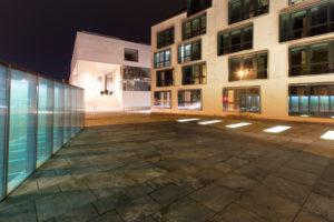 Blick von Stadtbibliothek, Museum Georg Schäfer, Abend, Schweinfurt, Franken, Bayern, Deutschland, Europa