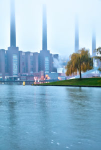 VW plant, Mittelland canal, car city, blue hour, evening, architecture, power station, Wolfsburg, Lower Saxony, Germany, Europe