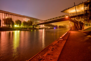 VW plant, Mittelland canal, car city, golden hour, evening, architecture, Wolfsburg, Lower Saxony, Germany, Europe