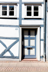 House facade, front door, window, half-timbered house, Wolfenbüttel, Lower Saxony, Germany, Europe