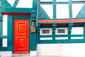 House facade, front door, window, half-timbered house, Wolfenbüttel, Lower Saxony, Germany, Europe
