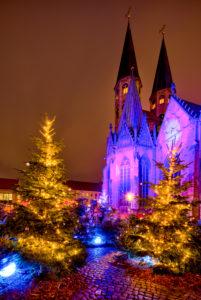 St. Martini, Kirche, Weihnachtsmarkt, blaue Stunde, Nacht, Braunschweig, Niedersachsen, Deutschland, Europa