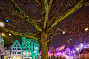 Kohlmarkt, Christmas Market, blue hour, night, Braunschweig, Lower Saxony, Germany, Europe