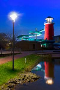 Erlebnisbad Ocean Wave, LED Projekt, blaue Stunde, Norddeich, Norden, Nordsee, Wattenmeer, Ostfriesland, Niedersachsen, Deutschland,