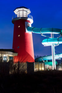 Adventure Pool Ocean Wave, LED project, blue hour, Norddeich, North, North Sea, Wadden Sea, East Frisia, Lower Saxony, Germany,