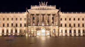 Residenzschloss, Schlossplatz, blue hour, Facade, Architecture, Night, Braunschweig, Lower Saxony, Germany, Europe