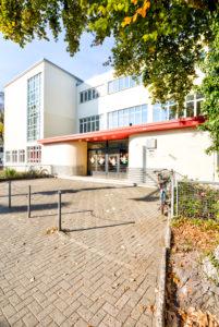 Altstädter Volksschule, Glasschule, Bauhaus, Architektur, Otto Haesler, Hausansicht, Herbst, Celle, Niedersachsen, Deutschland, Europa