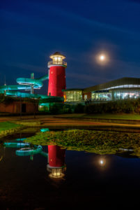 Adventure Pool Ocean Wave, LED Project, Kurpark, blue hour, Norddeich, North, North Sea, Wadden Sea, Ostfriesland, Lower Saxony, Germany,