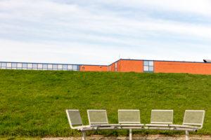 Haus des Gastes, Architecture, Facade, Norddeich, North, North Sea, Wadden Sea, East Frisia, Lower Saxony,