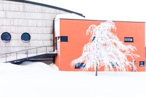 Luftsportzentrum auf der Wasserkuppe im Winter, Rhön, Hessen, Deutschland, Europa,
