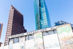Potsdamer Platz, former inner German border, parts of the wall, skyscrapers, house facade, city life, city center, Berlin, Germany