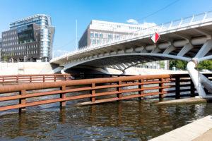 Kronprinzen Brücke,  Calatrava-Brücke, Fluss, Spree, Berlin, Deutschland